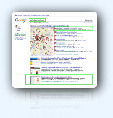 "Search results in the French Google for the keywords ""esthetique (aesthetic) toulouse"" on  september 20th, 2010"